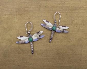 dragonfly earrings • silver dangle earrings • enamel dragonfly earrings