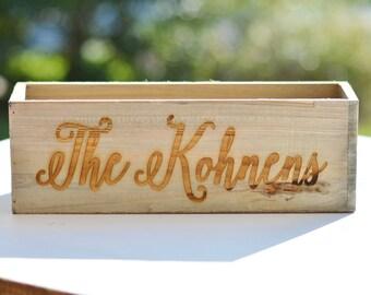 Personalized Planter Box, Barnwood Farmhouse Decor, Rustic Kitchen Centerpiece, Shabby Chic Wedding Centerpiece, Gift For The Bride