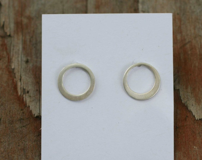 sterling silver inner circle post earrings - wild grace jewelry