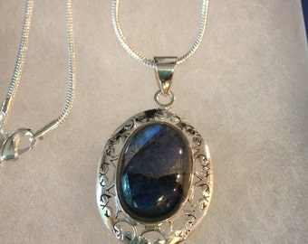 Blue Fire Labradorite Gemstone Pendant Necklace in Sterling Silver Design