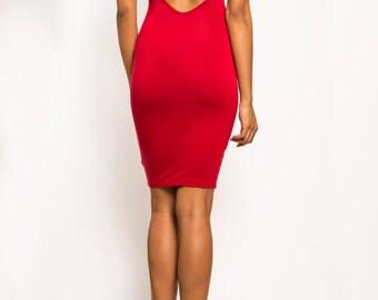 SAMANTHA - Backless Open Back Jersey Bodycon Mini Short Dress  - Black, Red, White (Herve Ledger, BCBG, Michael Kors, Gucci, Ralph Lauren)