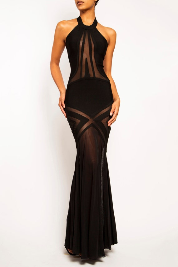 TAYLOR Long Bandage Mesh Sheer Mermaid Evening Gown Prom