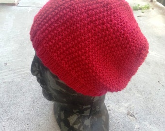 Red wool hat. Slouchy hat, floppy style. Mans hat. Womens slouchy beanie.