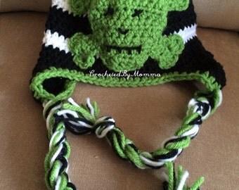 Crochet Skull and Crossbones Hat