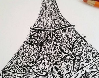 Eiffel Tower Printable Coloring Page, Printable Adult Coloring Page, Instant Download, Original Ink Pen Drawing by Aeris Osborne