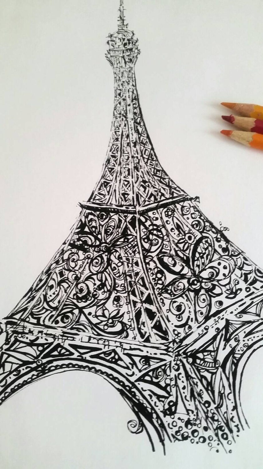 Eiffel Tower Printable Coloring Page Adult