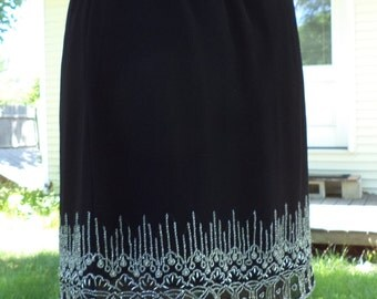 Black Mini Skirt - Elastic Waist - Upcycled, Recycled, Repurposed Clothing - Size Medium to Large