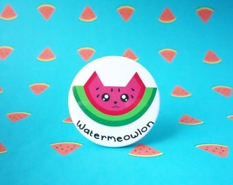 Watermeowlon badge, watermelon badge, cat badge, puns, watermelon pin, cat pin, animal pins, animal badges, kawaii