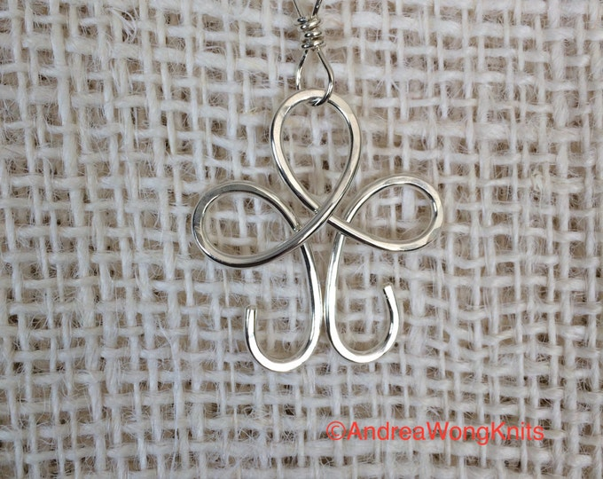 Pendant -Sterling Silver Flower Shape Necklace for Portuguese Knitting