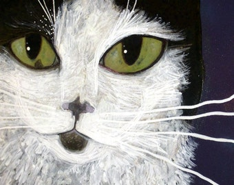 Pet Portrait Custom,Cat, Cat portrait painting on wood,Memorial