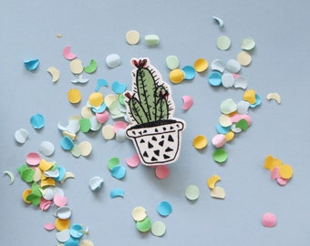 Cactus Brooch with Triangles on Flowerpot