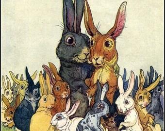 Art Print Easter Bunny Family Portrait 1920 Print 8 x 10