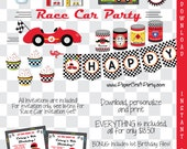 Race Car Personalized Birthday Party DIY Printable Kit Instant Download Includes Invite & First Birthday Bonus Files African American