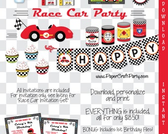 Race Car Printable Party Kit | Racing Invite & Decorations | INSTANT DOWNLOAD and Edit in Adobe Reader | Matchbox | Paper Craft Party
