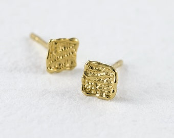 Tiny Gold Earrings, Stud Earrings, Gold Square Earrings, Solid Gold Earrings, 14k Gold Earrings, Gold Stud Earrings, Unique stud Earrings