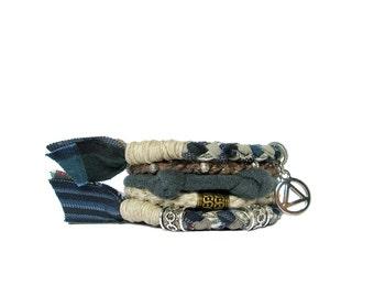 Navy Recovery Bracelet Sobriety Bracelet AA Bracelet Eco Friendly For Her Blue and Green