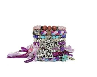 Pastel Bracelet Cuff Cross Bracelet Stack Pink Bohemian Wedding Bracelet Christian Jewelry Pink Lavender Fringe Cuff Boho Bangles