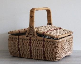Vintage Flip-Top Harvest, Farmers' Market, Lunch, Picnic Woven Red & Blonde Wicker Basket
