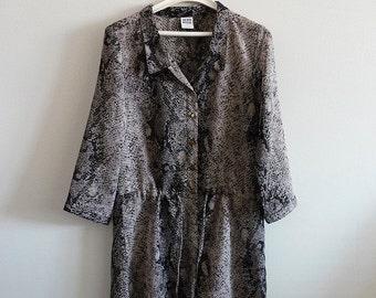 Animal print blouse. Grey summer tunic. Size small. Grey tunic. Blouse women.Sale