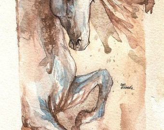 original watercolour painting of an andalusian horse