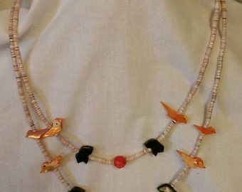 Old Pawn Heishi Shell Zuni Bird Bear & Rose Necklace, Estate Jewelry, Vintage Jewelry, Southwestern Jewelry (Item#32)
