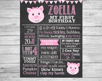 Pig First Birthday Chalkboard,  Pig Birthday Chalkboard, Birthday Chalkboard, Pig Birthday