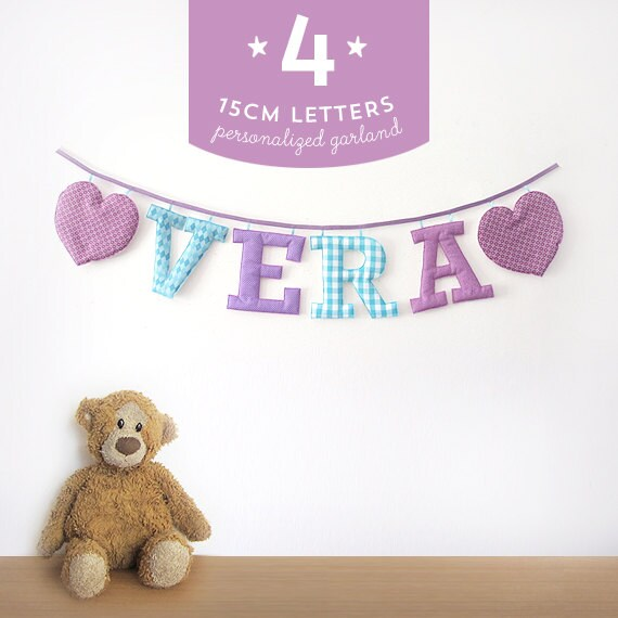 Customized Handmade Fabric Garlands - 4 Large Letter Name