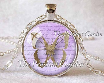 BUTTERFLY PENDANT Lavender Butterfly Necklace Butterfly Jewerly Butterfly Lover Gift Butterfies Lavender Nature Lover Gift Nature Jewelry