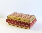 Vintage Tin Biscuit Box - Red Tea Box - Made in Belgium - Vintage Kitchen Storage Tin - Trinket Box - Office Desk Decor - Cottage Decor