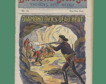 "Antique Victorian Magazine Diamond Dick Jr Weekly ""Diamond Dick's Dead Heat"" - July 15, 1899 Publication"