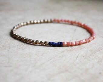 Gold, Navy & Coral Bracelet - Bohemian Jewellery