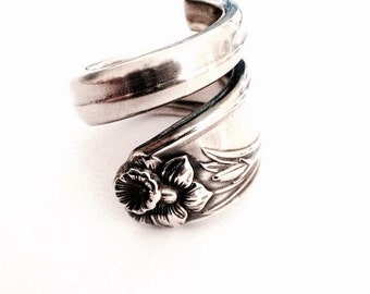 Vintage Silver Spoon Ring circa 1950 - Handmade Silverware Jewelry - Spoon Jewelry