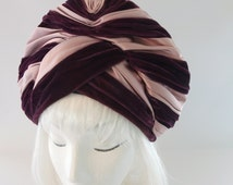 Vintage Jack McConnell Hat. Draped Turban. 1950s Hat. 1940s Style Halo Hat. Purple Silk & Velvet Couture Millinery. 1960s Red Feather Label.