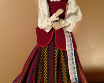 Wooden Lithuanian Doll- Ethnic Costume Girl- Traditional Clothing- Vintage Soviet Union
