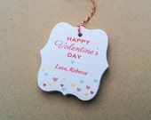 Valentines Day favor tags - Confetti hearts valentine - Personalized Valentine tags -  kids valentines tags - custom favor tag - TG-16