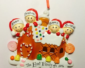 COMING SOON - Ships Free - 4 Family Gingerbread Personalized Christmas Ornament / Family Ornament / Gingerbread House / Gingerbread Ornament