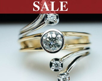 SALE - Vintage .56ct Diamond Wrap Ring in 14k Yellow & White Gold - Size 7
