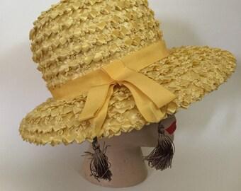 Vintage Melinda Original Yellow Raffia Hat with Tassels