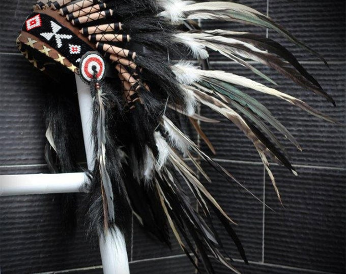 PRICE REDUCED X01 Indian Style White and black Feather Headdress / Warbonnet