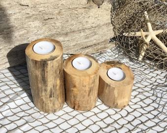 3 pc Driftwood Candle Holders, Reclaimed Tree Limb Candles, Beach Cottage Decor, Beach Wedding Decor, Beach House, Summer Decor, Gift Idea