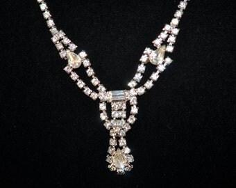 Fabulous Rhinestone Choker Necklace, Antique Rhinestone Necklace, Antique Choker, Crystal #504