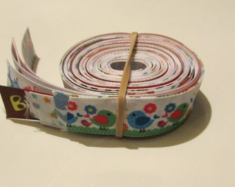 Grosgrain prints 10 yard assortment 10 one yard lengths 7/8 inch and 1 inch print grosgrain ribbons.