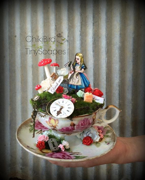Alice In Wonderland Tea Cup Garden Fairy Village Fairy Tea