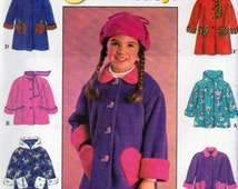 Simplicity 7822, Little Girls Fleece Jackets or Coats Sewing Pattern, with Hood or Scarf, Sizes 5,6 and 6X, Blanket stitch Trim Option,