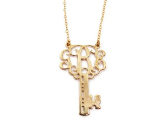"Key Monogram necklace. Gold monogram necklace 1.5"" gold. Personalized jewelry, anniversary gift, gift for her, monogram jewelry."