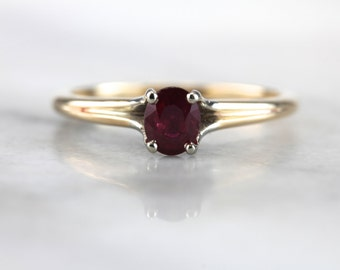 Classic Ruby Solitaire Engagement Ring, Vintage Ruby Engagement Ring or Stacking Ring L2M94P-P