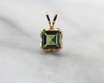 Olive Green: Simple Tourmaline Drop Pendant for Layering  CLVE66-D