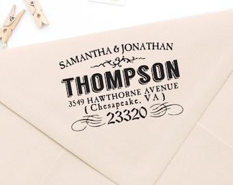 "Return Address Stamp, Rubber Address Stamp, Housewarming Gift, DIYer Gift, Wedding Gift. Vintage Address Stamp 2"" x 1.5"" - A56"