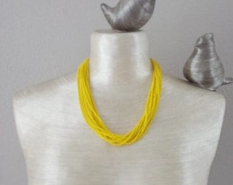 Yellow necklace,bright necklace, yellow seed bead necklace,bridesmaid necklace,beaded necklace seed bead jewerly,bridesmaid gift,multistrand