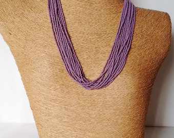 Taro color necklace, lilac necklace, purple necklace,wedding necklace,multistrand,beaded necklace, bridesmaid necklace,violet necklace